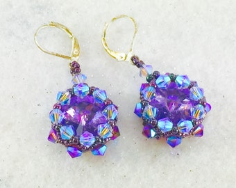 Purple Dangle Earrings, Purple Rivoli Earrings, Crystal Earrings, Amethyst Purple Earrings, Glass Bead Earrings, Swarovski Crystal Earring