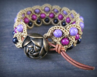 Purple Wide Cuff  Bracelet with brass and leather accents, Crocheted Bohemian Jewelry