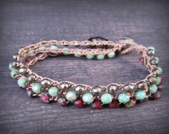Multi strand crochet bracelet, rustic red and turquioise, Boho southwestern style crochet jewelry