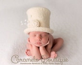 Millinery Inspired Newborn Top Hat with Detachable Band for Baby Girl or Baby Boy-Organic Newborn Photo Props-Baby Top Hat-Infant Top Hat