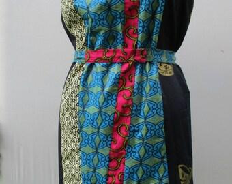 African print Multi Print dress, Strapless cotton Dress, Shoulder Tie Dress, Summer Dress, OOAK