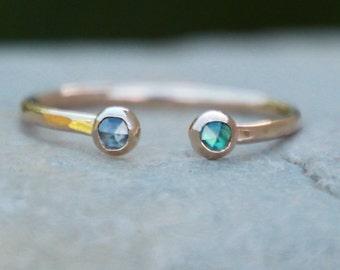 GOLD DOUBLE BIRTHSTONE Ring - dual birthstone ring - birthstone ring - mother's ring - adjustable birthstone ring - adjustable ring - rings