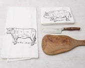 Flour Sack Towel Set-Tea Towels-Hand Screen Printed Kitchen Towels-100% Soft Cotton-Cow and Pig Butcher Diagrams-Country Kitchen Decor