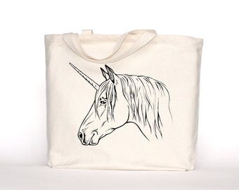 Unicorn Canvas Tote-Screen Printed Cotton Grocery Bag-Large Canvas Shopper-Reusable Grocery Tote Bag-Magical Unicorn