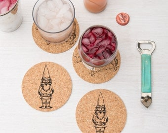 Coasters - Set Of 4 - Gnome Sweet Gnome -  Cork - Gift for Her - Gift for Him - Housewarming