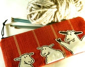 Sheep Zipper Bag Original Art Linen Leather Knitting Tool Bag OOAK IN STOCK