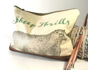 Sheep Thrills Knitting Project Bag, Needle Case, Canvas and Linen, made to order