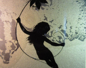 Art Nouveau Silhouette Image of Child on Vine Printed Goldtone Nitrate Glass