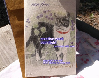 run free ( a spirit's song ) gray white cat cards/ journey cards/sentimental cards/unique empathy condolence cards