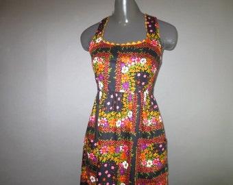 1970's Summer Dress // Boho Hippie Rick-Rack Trim // Maxi Sun Dress...old size 7 (small)