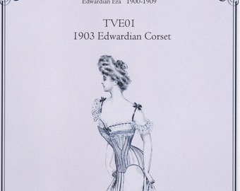 TVE01 - Truly Victorian #E01, 1903 Edwardian Corset Sewing Pattern