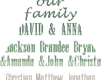 Family Tree Cross Stitch Pattern/Family Tree Cross Stitch/Modern Family Tree Cross Stitch/Family Tree/ Cross Stitch  Pattern/Digital PDF
