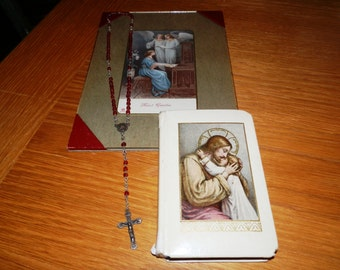 Vintage Religious Framed Holy Card-Prayer Book-Miniature Rosary...Lot 91