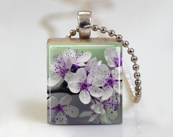 Purple Flowers Nature Photography - Announcement Scrabble Pendant Necklace with Ball Chain Necklace or Key Ring
