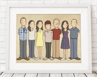 Custom Group Portraits - Personal Portrait - Family Group Portrait - Illustrated Family Portrait - Personalised Portrait