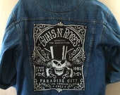 Vintage  denim Jean jacket with the band tour T-shirt patch on back Guns n' Roses Paradise City