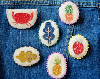 Hand Embroidered Strawberry Pin Brooch 100% Wool