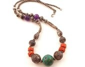 Intricate Beaded Tribal Necklace with Silver, Turquoise, Coral, Amethyst Beads