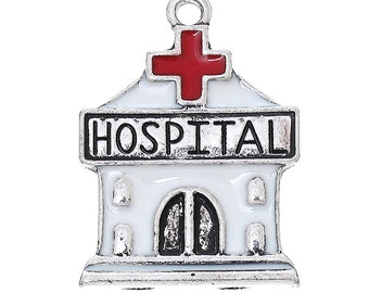 4 HOSPITAL Charms, silver with red and white enamel,  che0488