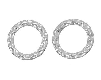 10 Silver PlatedHammered Metal Textured CIRCLE RING Connectors 16mm  chs2084