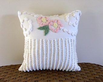 Ivory pillow cover TWIN PINKS 14 X 14 inches, pink cushion cover, cottage chic pillow sham, shabby style pillow, porch pillow case
