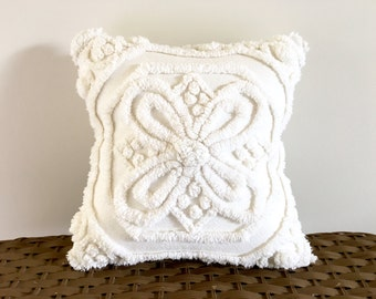 Ivory chenille handmade pillow cover, 12 X 12 inches, BUTTERFLY WINGS, off white pillow case, shabby cottage chic ivory cushion cover