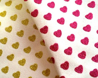 Sparkly Hearts Fine Glitter Fabric SHEET