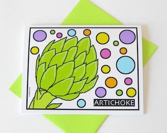 Artichoke Art Notecard // Printed Notecard // Blank Inside // Any Occasion // Kitchen Art