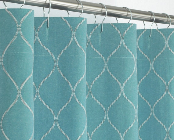 Aqua Shower Curtain Ogee 72 Wide X 72 78 84 96 Long By Pondlilly
