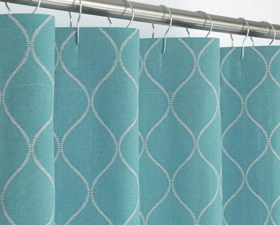 "Aqua Shower Curtain Ogee - 72"" Wide x 72, 78, 84, 96 Long - Teal"