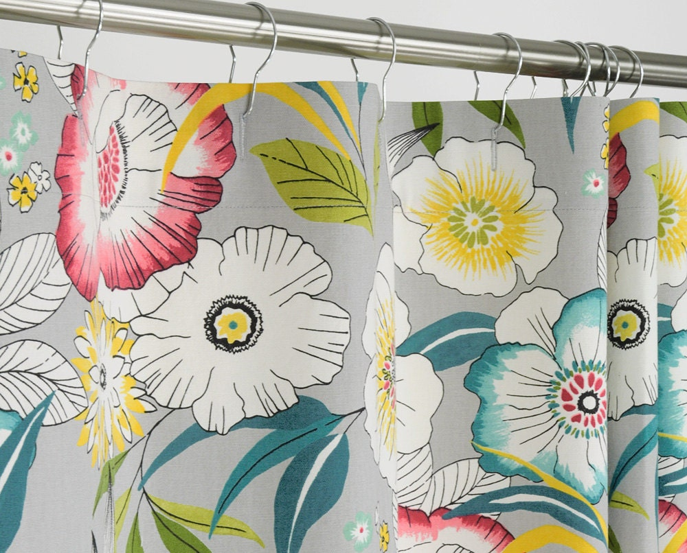 FLORAL Shower Curtain Gray Aqua Red Yellow 72 By PondLilly