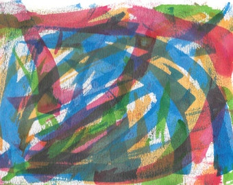 "Original Painting - 9"" x 12"" - Abstract - Purple, Green, Blue, Yellow and Pink India Ink Painting - 2015-441"