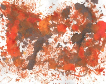"Original Painting - 5"" x 7"" - Abstract - Multicolored India Ink Painting - 2015-491"