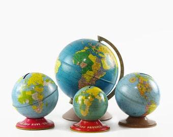 Vintage World Globe Collection, Tin Globe, Globe Bank, Ohio Art, Rand McNally, Instant Collection, Set of Four