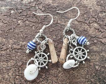 Nautical Earrings, Nautical Jewelry, Dangle Earrings, Ladies Earrings, Stone Earrings, Handmade Earrings, Pierced, Sterling Earwires