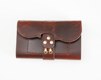 Mahogany Violin wallet, Horween chromexel horse hide, Jacobson leather, handstitched, made in usa