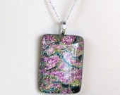 Dichroic Pendant necklace ON SALE!  lovely multi colored dichroic glass  necklace