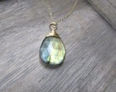 Labradorite Pendant, Semi Precious Gemstone Charm 14 K Gold Filled wire wrapped  One of a Kind Labradorite Jewelry