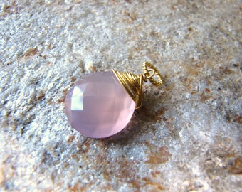 Pink Chalcedony Pendant, Charm or necklace, 14 k gold filled wire wrapped pendant drop