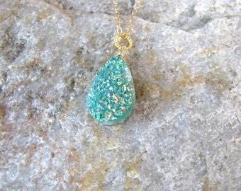 druzy pendant silver green colored titanium druzy gemstone and  wire wrapped pendant drop