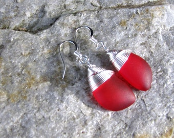 sea glass ear rings red seaglass beach glass jewelry  earrings-bridesmaid earrings- teardrop  earrings