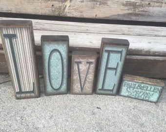 LOVE -- Sky blocks- Personalized- Great decoration for mantel