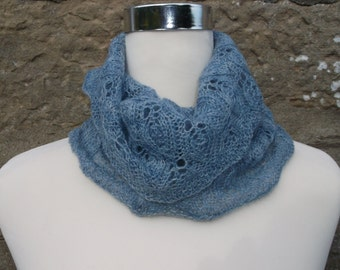 Hand knitted blue shades lace infinity cowl / neckwarmer / snood. Hand dyed  Bluefaced Leicester  wool.