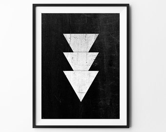 Geometric art, wall art prints, geometric print, black and white, wall decor, graphic, inspirational, dirty triangle