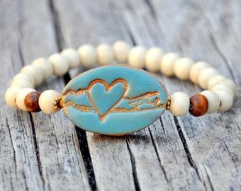 Blue & Gold Long Island Love Beaded Bracelet