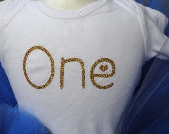 Birthday ONE onesie in gold sparkling glitter