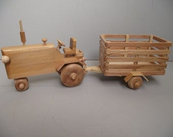 Wooden Toy TRACTOR with Farm Trailer a Delightful Play Companion