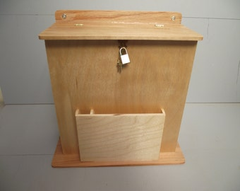 Large Suggestion Box or Wedding Card Holder Reclaimed Wood with Slot, Key and Lock Hinged Natural Finish