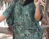 Moss Green Bali Batik Top Tunic Kaftan Caftan Poncho Dress Blouse Loungewear Summer Beach Cover Up Party Pregnant Regular Size 1X 2X 3X