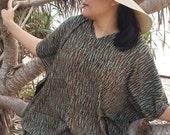 Olive Green Bali Batik Top Tunic Kaftan Caftan Poncho Dress Blouse Loungewear Summer Beach Cover Up Party Pregnant Regular Size 1X 2X 3X